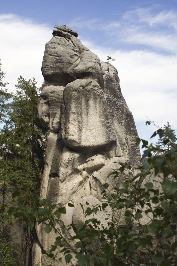 Scogliera grigia della roccia in foresta fotografia stock libera da diritti