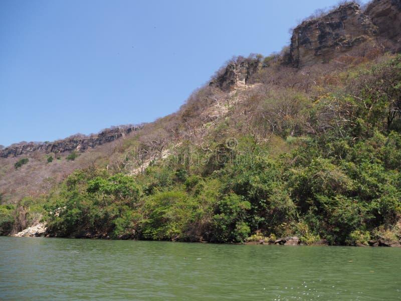Scogliera rocciosa esotica del canyon di Sumidero al paesaggio del fiume di Grijalva nello stato del Chiapas al Messico immagini stock libere da diritti