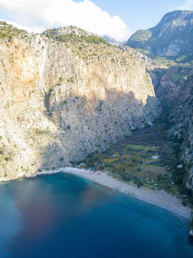 Scogliere Butterfly Valley Fethiye Turchia di vista del fuco fotografia stock libera da diritti
