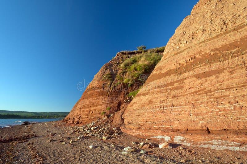 Scogliere dell'arenaria in Nuova Scozia fotografia stock
