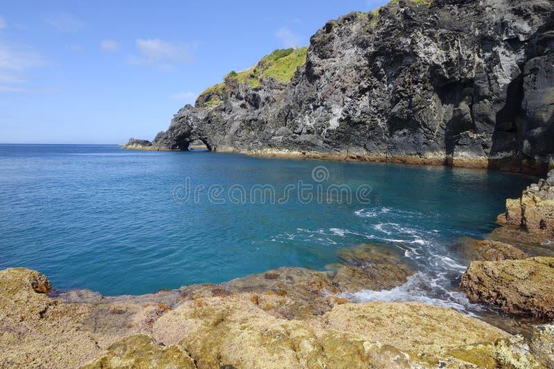 Scogliere vulcaniche del Flores di Santa Cruz das immagine stock