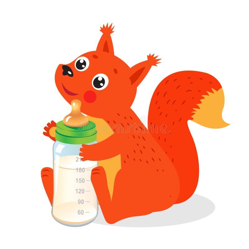 Scoiattolo sveglio con la bottiglia per il latte Vettore benvenuto del bambino royalty illustrazione gratis