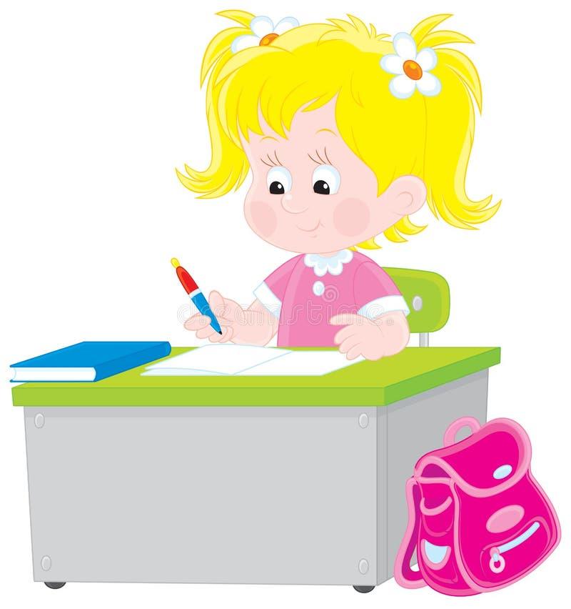 Scolara che scrive una prova a scuola illustrazione vettoriale