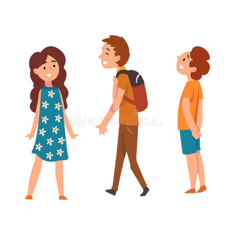 Scolari felici, due ragazzi e ragazza, illustrazione di vettore royalty illustrazione gratis