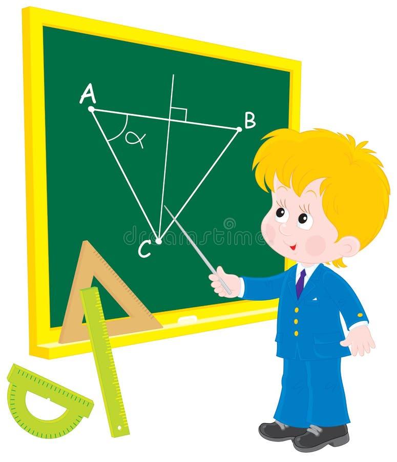 Scolaro alla geometria di lezione illustrazione vettoriale