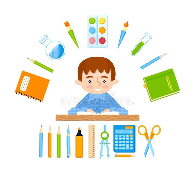 Scolaro allo scrittorio della scuola ed all'insieme di vettore degli strumenti della scuola illustrazione vettoriale