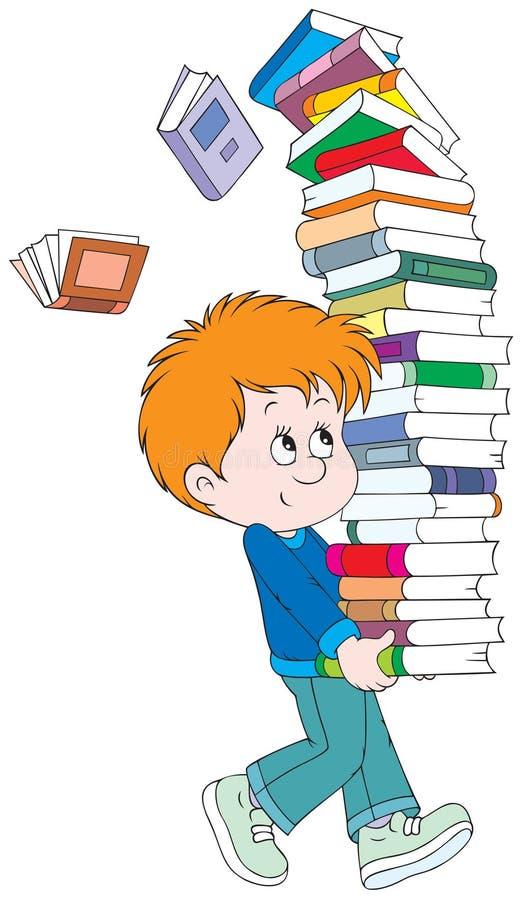 Scolaro con i libri illustrazione vettoriale