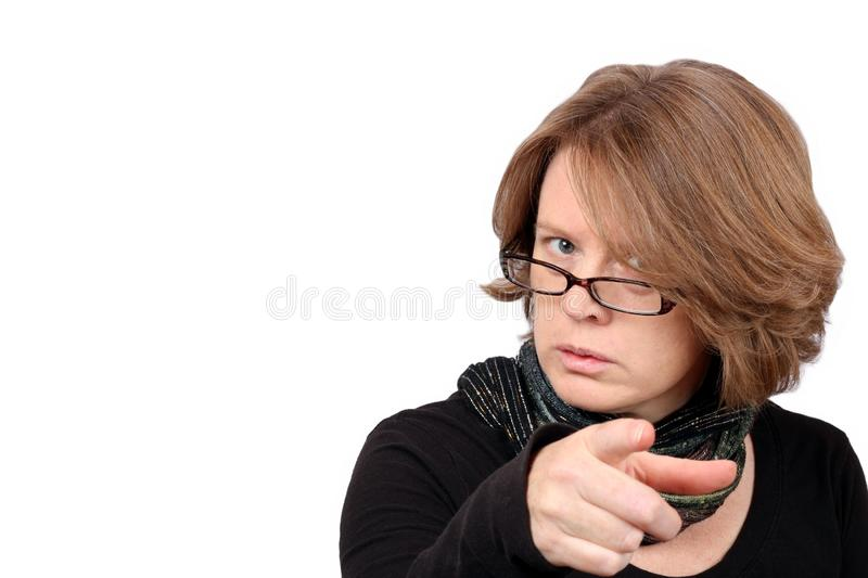 Scolding Teacher. A Woman Who is Not Pleased with You royalty free stock photography