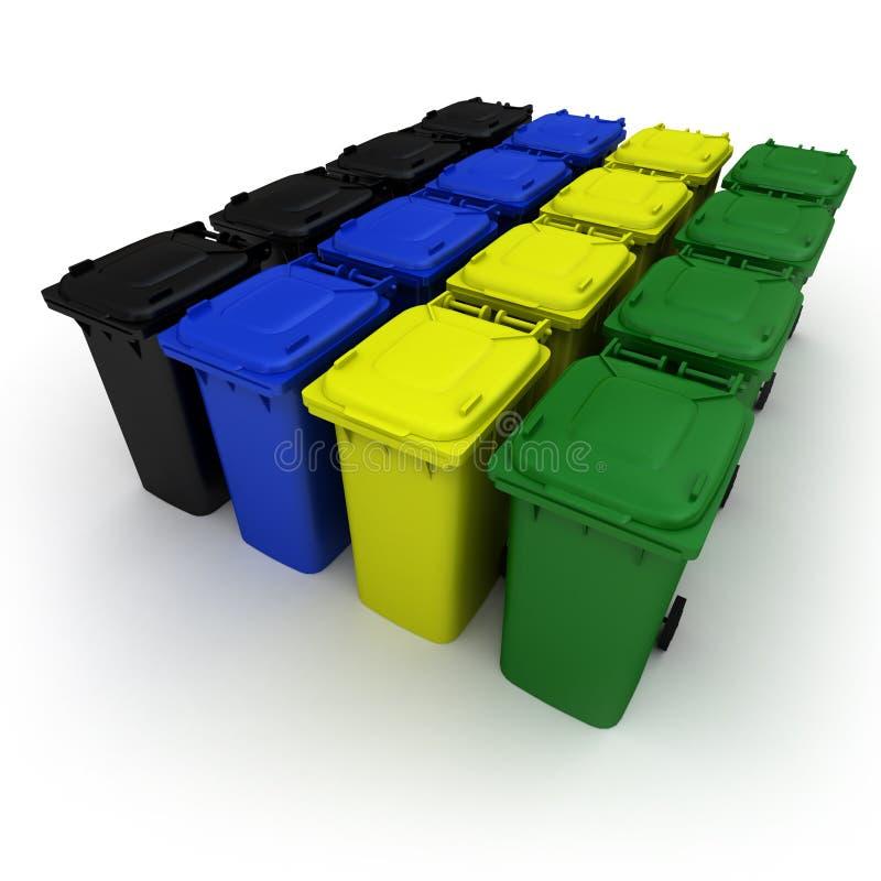 Scomparti di immondizia di plastica illustrazione vettoriale