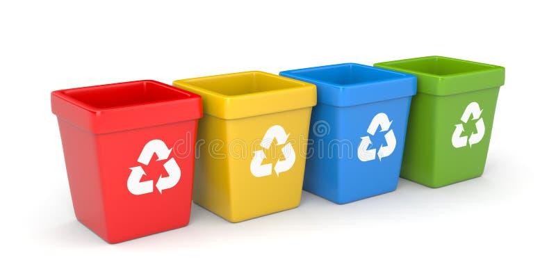 Scomparti di riciclaggio colorati illustrazione vettoriale