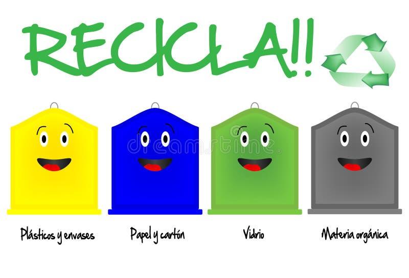 Scomparti di riciclaggio differenti royalty illustrazione gratis