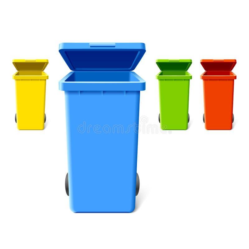 Scomparti di riciclaggio variopinti illustrazione vettoriale