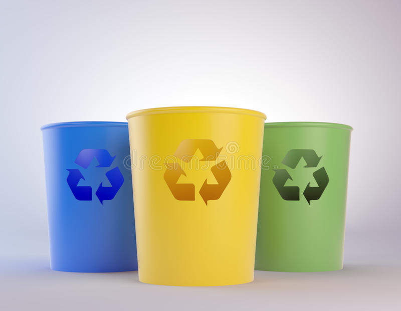 Scomparti di rifiuti variopinti con il riciclaggio dei simboli illustrazione di stock