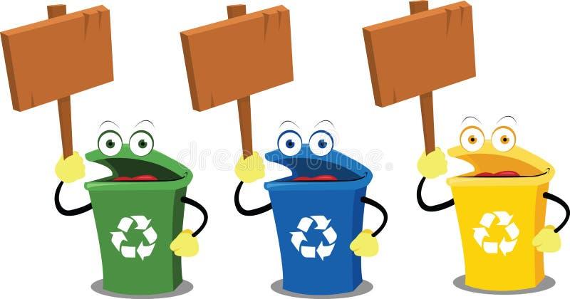 Scomparti e segni di riciclaggio divertenti illustrazione vettoriale