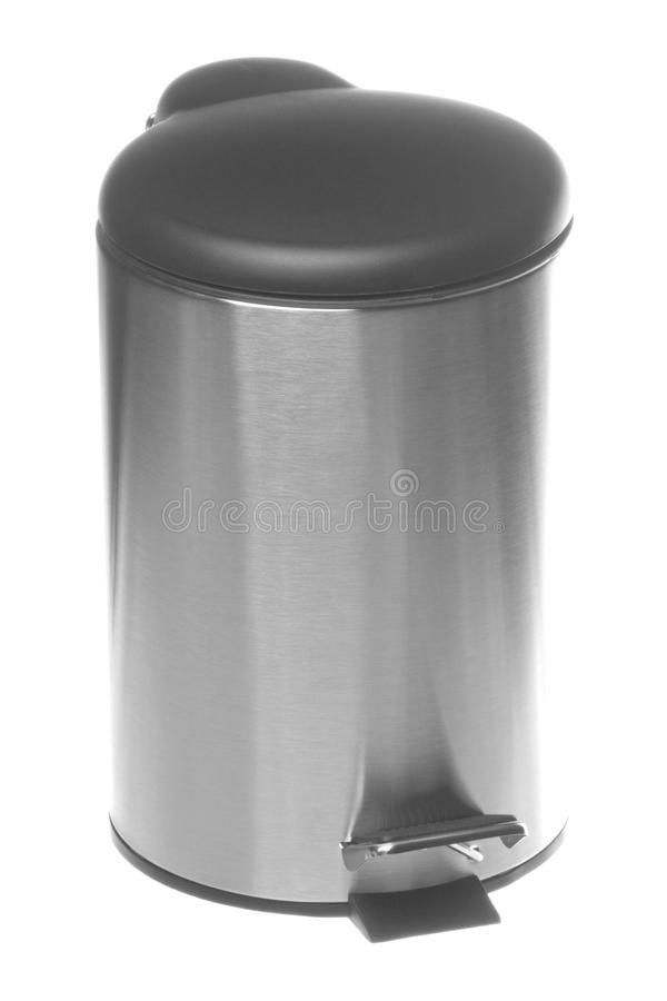 Scomparto dei rifiuti dell'acciaio inossidabile isolato immagini stock