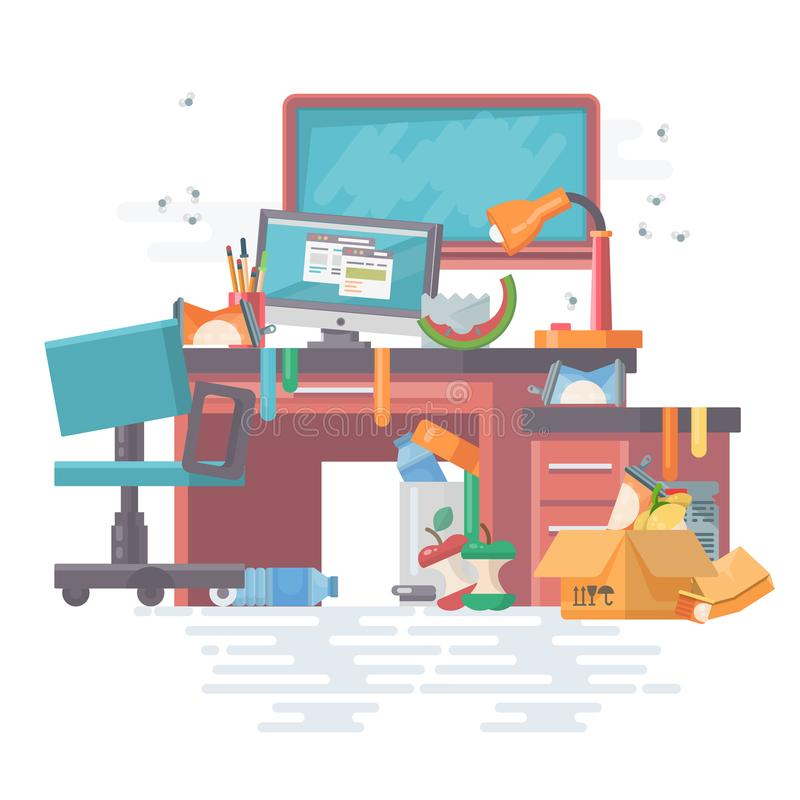 Scompigli l'ufficio del lavoro con disordine e gli aggeggi moderni, il computer, il pc, gli archivi, il bordo, la tavola, sedia S illustrazione di stock
