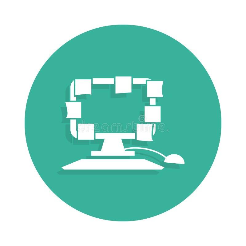 Scompigli sull'icona da tavolino nello stile del distintivo con ombra illustrazione di stock