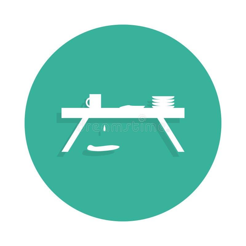 Scompigli sull'icona della tavola nello stile del distintivo con ombra illustrazione vettoriale