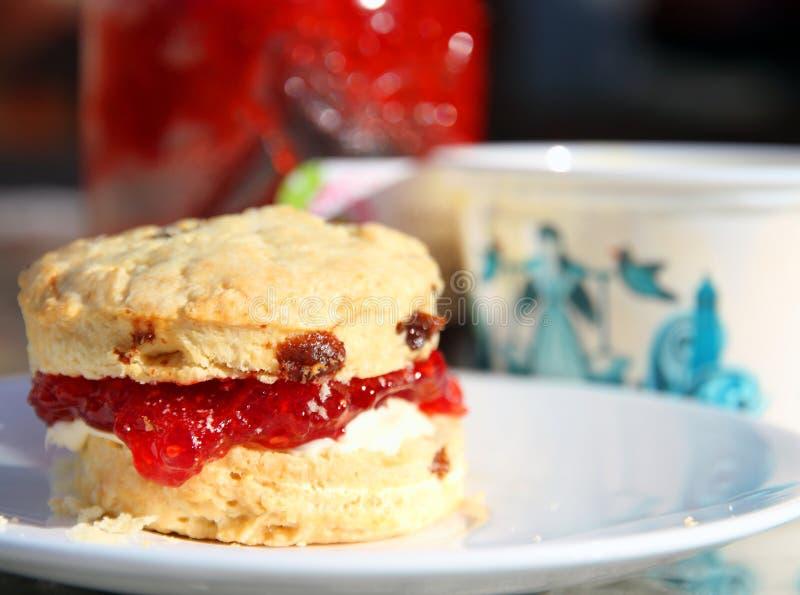Scone avec de la confiture de fraise et la crème coagulée photographie stock