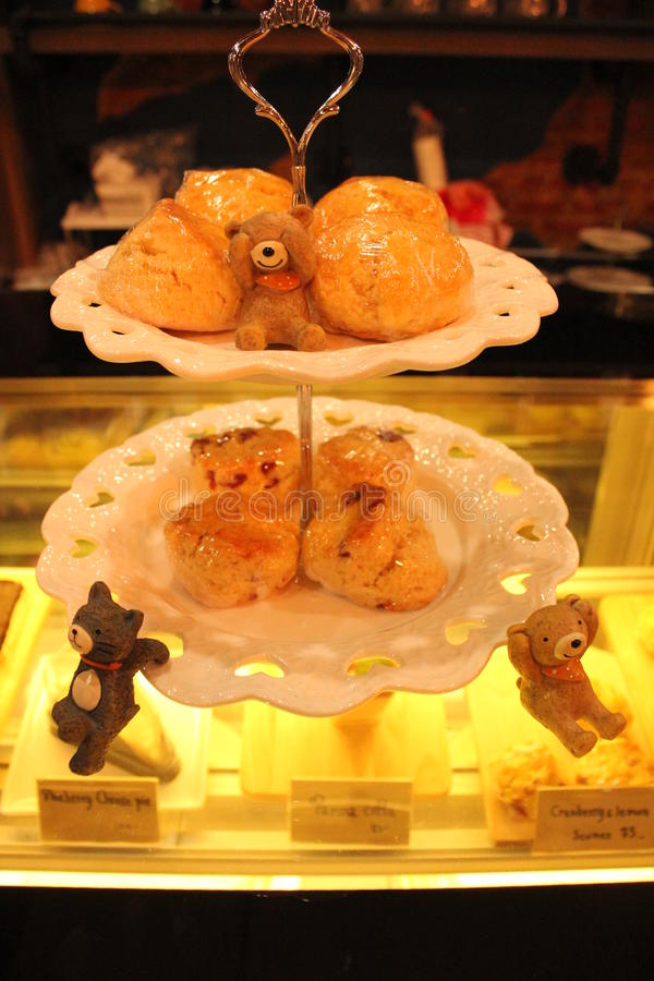 Scone with cute bears stock images