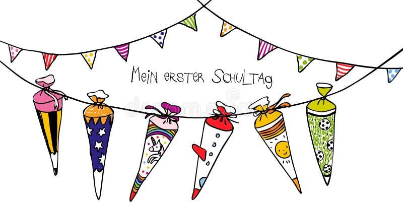 Scones coloridos de la escuela para el primer día de la escuela - ejemplo exhausto de la mano para las tarjetas o las banderas ho stock de ilustración