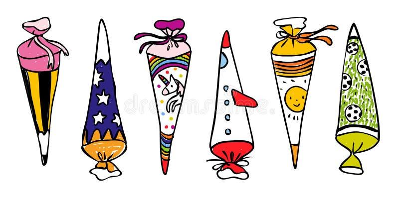 Scones coloridos de la escuela para el primer día de la escuela - ejemplo exhausto de la mano para las tarjetas o las banderas ho libre illustration