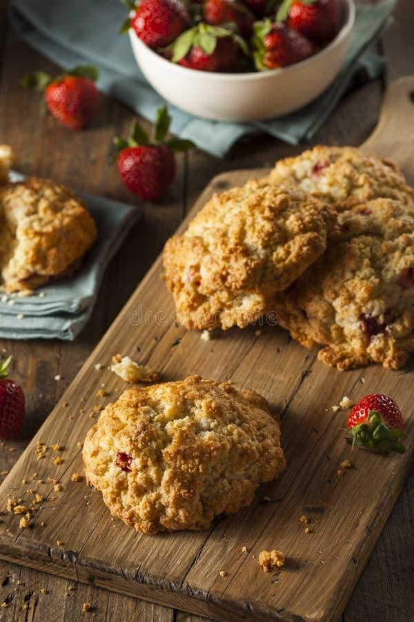 Scones faites maison de fraise pour le petit déjeuner photos libres de droits