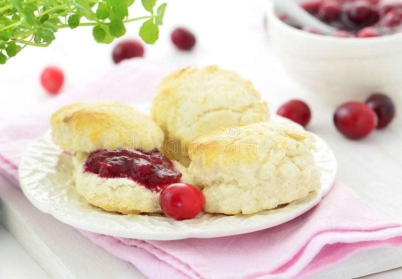 Download Scones With Homemade Cranberry Jam Royalty Free Stock Image - Image: 37865016