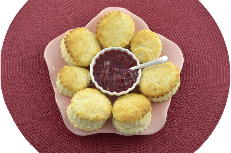 Scones With Plum Preserve Royalty Free Stock Images