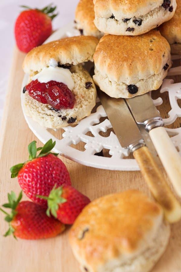 Scones & strawberry jam with cream stock photos