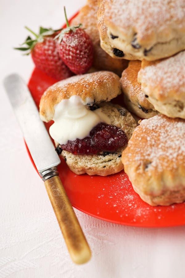 Scones & strawberry jam with cream royalty free stock photos