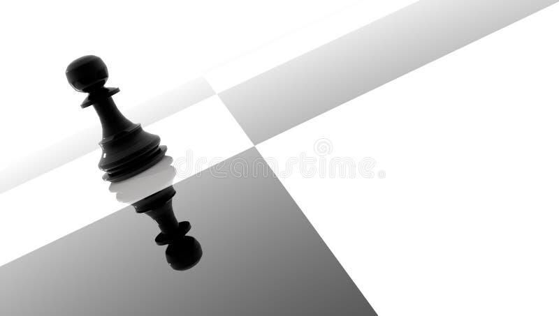Sconfitta di vittoria di strategia del nero uno del pegno - rappresentazione 3d illustrazione vettoriale