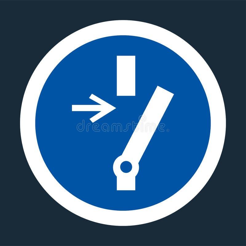 Sconnessione prima del segno d'avanzamento di simbolo di riparazione o di manutenzione su fondo nero su fondo nero, llustration d illustrazione vettoriale