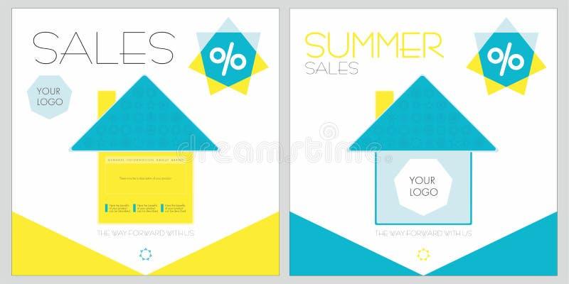 Sconti di estate con le case immagini stock