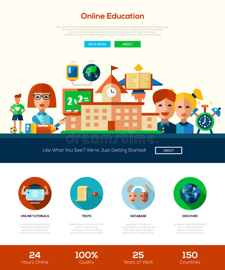 Scool, education website header banner with webdesign elements royalty free illustration