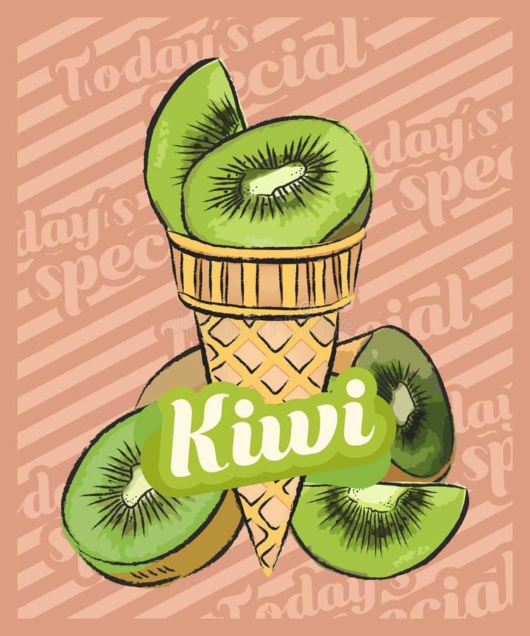 Scoop de crème glacée de kiwi dans le cône Illustration de croquis de vecteur Id?e de cr?me glac?e de fruit, concept illustration libre de droits