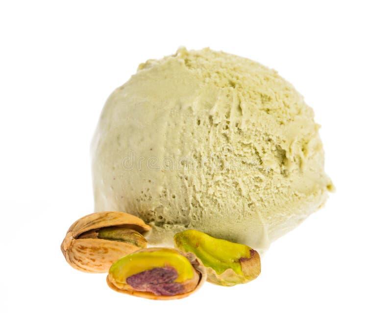 Scoop de crème glacée de pistache d'isolement sur le fond blanc images libres de droits