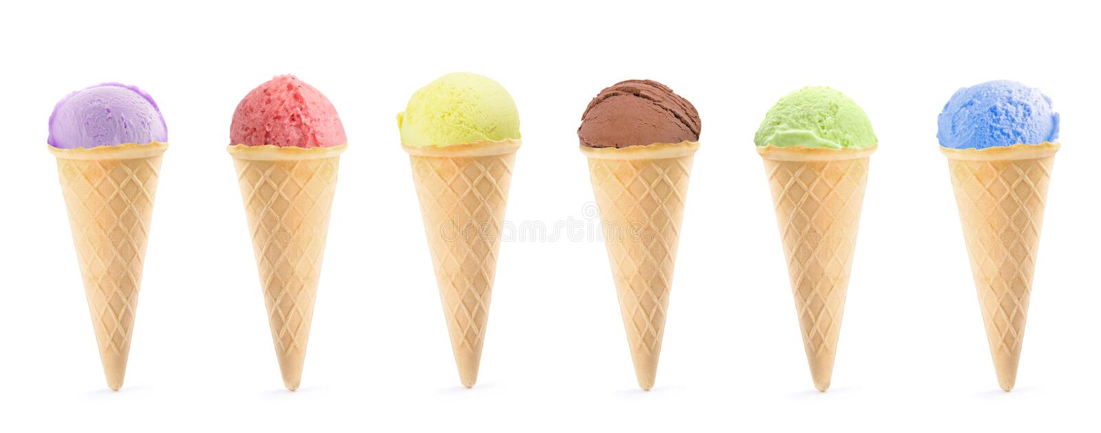 Scoop of delicious ice cream on white. Background royalty free stock photos