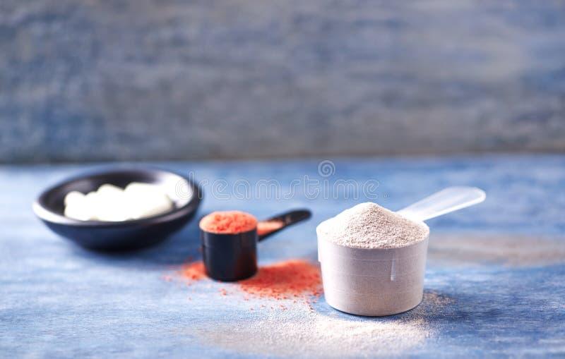 Scoop des capsules de protéine de lactalbumine, de poudre de créatine et de taurine Nutrition de sport images libres de droits