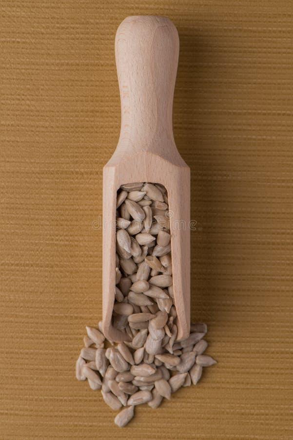 Scoop en bois avec les graines de tournesol écossées photos libres de droits