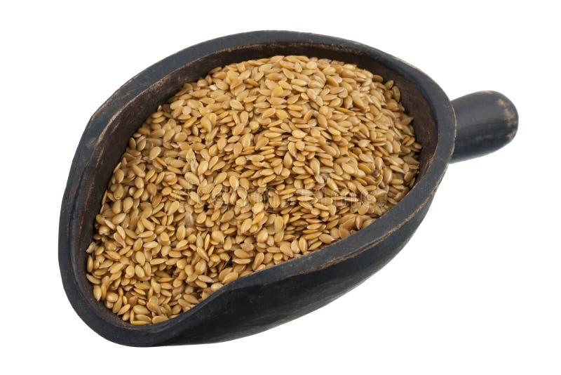 Scoop of golden flax seeds stock images
