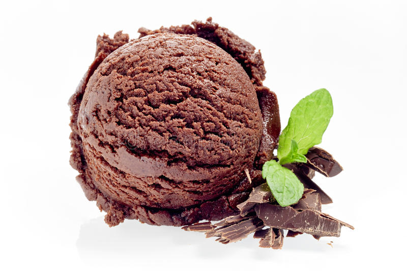 Scoop of gourmet chocolate ice cream with flakes. And sprig of fresh peppermint alongside isolated on white stock photos