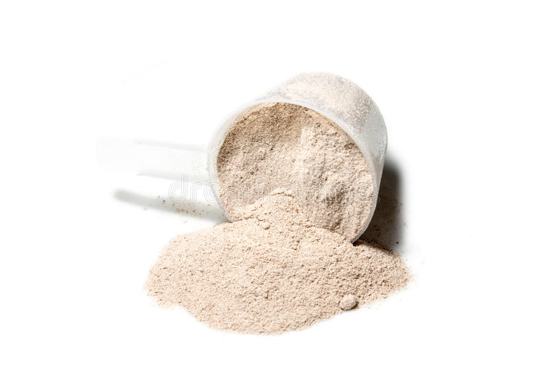 Scoop of Isolate protein powder chocolate deluxe flavour poured. Isolated on white background stock photography
