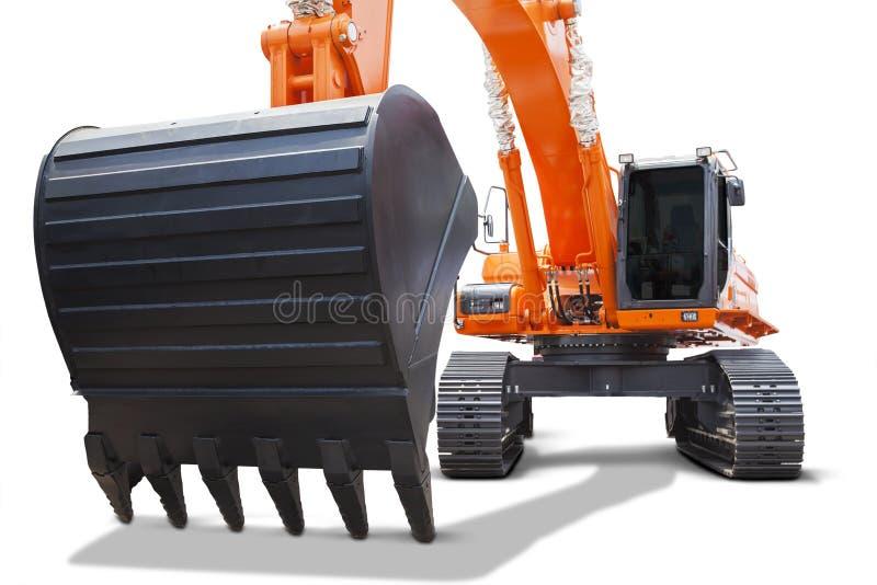 Scoop lourd d'excavatrice orange images libres de droits