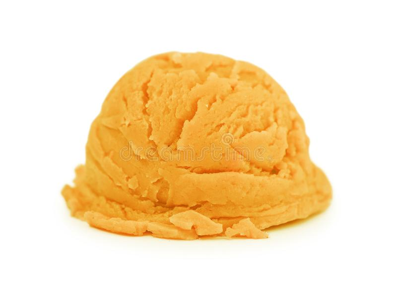 Scoop of orange ice cream stock photos