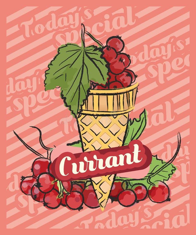 Scoop rouge de crème glacée de baie de sorbe dans les cônes Illustration de croquis de vecteur Id?e de cr?me glac?e de fruit, con illustration de vecteur