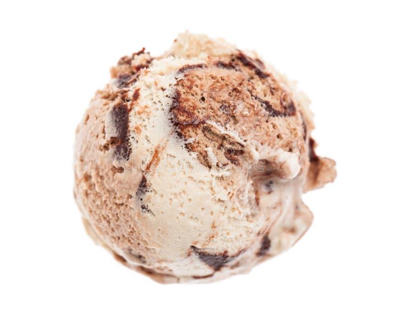 A scoop of tiramisu ice cream form bird`s eye view isolated on white background royalty free stock image