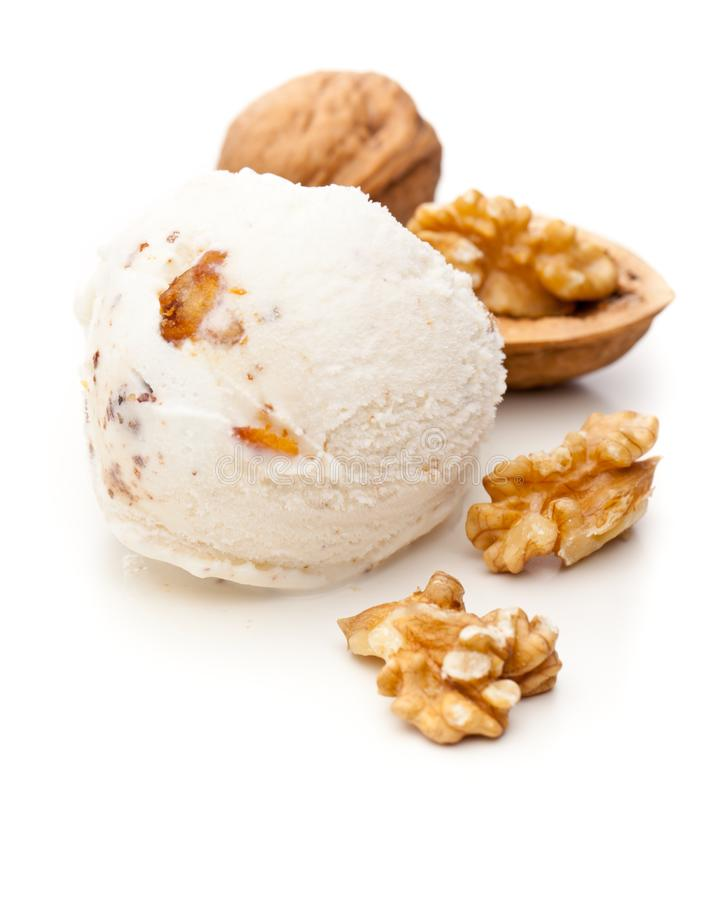 A scoop of walnut ice cream isolated on white background royalty free stock photos