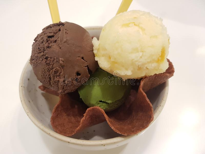 3 scoops of icecream in waffle. Sweet, dessert royalty free stock image