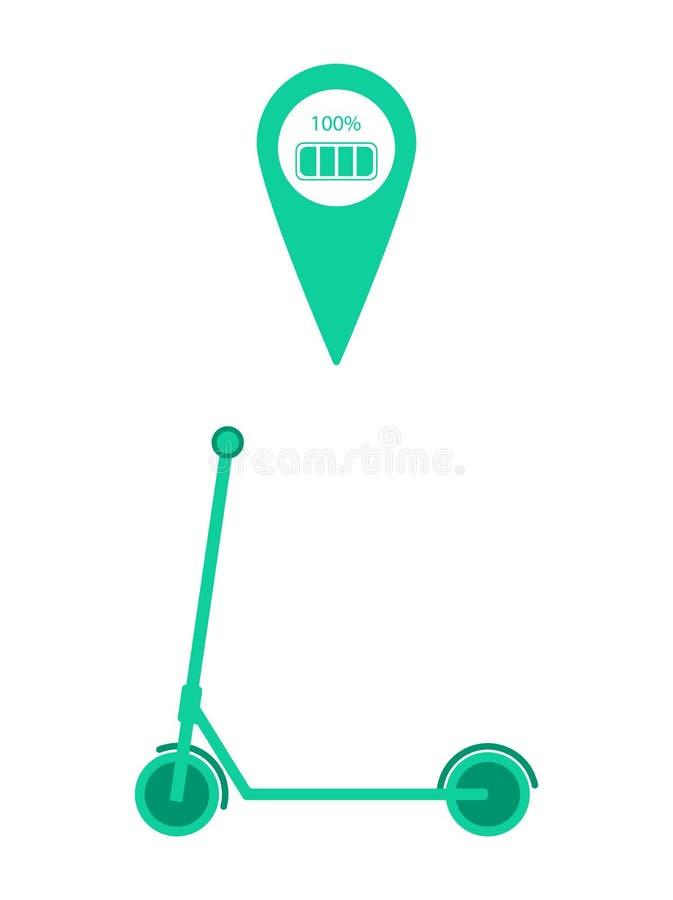 Scooter électrique de coup-de-pied avec l'indicateur de charge de goupille et de batterie d'emplacement de carte Illustration de  illustration libre de droits